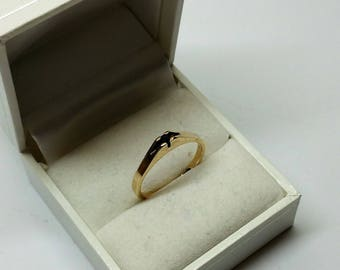 Ring Gold 333 Sapphire plain Vintage Stainless GR433