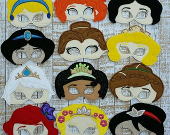 Princess Mask inspired masks- dress up and birthday party favor masks,Beauty and the beast  birthday, photo booth props