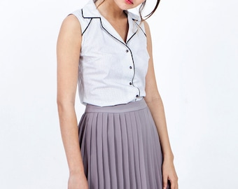 Light grey pleated skirt, pleated skirt, chiffon skirt, summer skirt, knee length skirt, high waisted skirt, short skirt