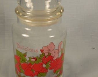 Vintage Strawberry Shortcake-Tall Glass Canister-7 with Lid-No Box