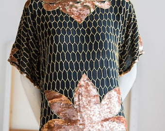 Sequin Top | Black  and Copper Sequin Top  | Gold Sequin Top | Embroidered Top | Gatsby Top