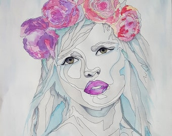 Art Painting Blue Grey Lady Painting, Watercolour Painting, Watercolour Art, Surreal Art