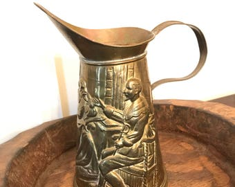Vintage Lombard England Large Hammered Brass Beer Pitcher or Water Jug with Relief Scene