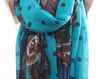 Polka Dots Scarf Paisley Scarf Infinity Scarf Circle Scarf Fall Winter Spring Summer Fashion   Mom Fashion Accessory