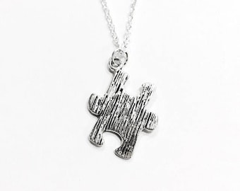 "Silver Puzzle Piece Charm Pendant Necklace on .925 Sterling Silver 18"" Chain Autism Awareness"