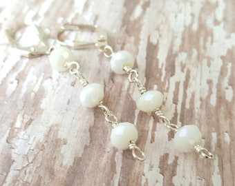 White Faceted Glass Earrings - White Dangle Earrings - Wedding Earrings - Long White Earrings - Sparkling Earrings - Shiny White Drop