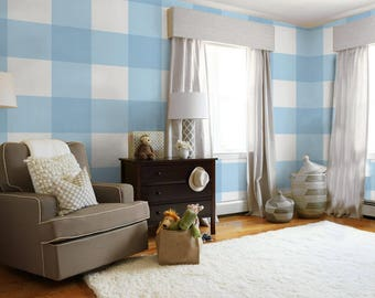 Large Buffalo Check (12 inch)  // Light Blue Removable Peel 'n Stick Wallpaper