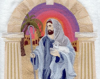 JESUS The GOOD SHEPHERD - Machine Embroidery Quilt Block (AzEB)