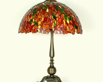 "16.5"" Stained Glass Table Lamp - Tiffany lamp. Stained glass lamp. Stained glass lamp. Tiffany table lamps. Stained glass lamp. Laburnum."