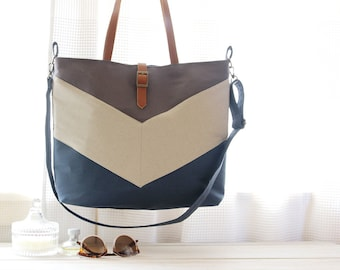 LARGE, Teal blue and gray chevron tote / diaper bag / shoulder bag.  9 inside pockets. Waterproof poly lining available