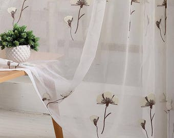fabric veil curtains embroidery couture cotton flower 1m