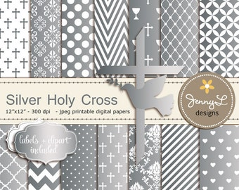 Silver Baptism Digital Papers, First Communion Digital Scrapbooking, Christening, Holy Week Cross and Dove Baptismal Clipart, Dedication