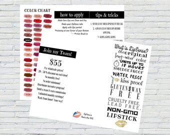 LipSense Brochure, Colors, Instant Download, Printable, How to Apply, Tips & Tricks, Color Chart, Join My Team, SeneGence, Marketing Kit