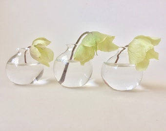 Clear mini bud vases/ Set of Three / Hand made blown glass