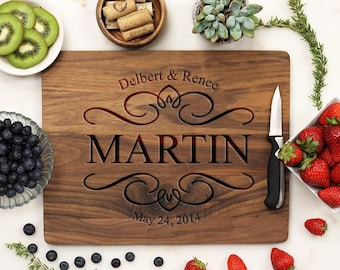Personalized Cutting Board, Custom Cutting Board, Engraved Cutting Board, Monogrammed Walnut Wood --21027-CUTB-002