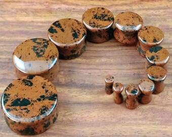 Pair of Mahogany Obsidian Stone Plugs / Gauges For Stretched Ears (25mm, 22mm, 19mm, 16mm, 14mm, 12mm, 10mm, 8mm, 6mm, 5mm, 4mm, 3mm)
