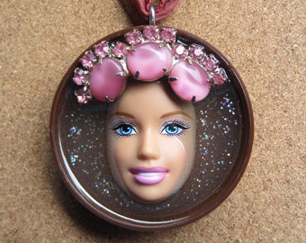 Upcycled Barbie Doll Pendant - Cupcake