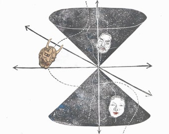 Noh Spacetime - Linocut print of Japanese Noh Masks on a Space Time Diagram - Woman, Man, Supernatural Demon, Dimensions, Causality, Physics