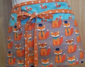 Foxes with glasses Half Apron, Cafe Apron, 3 pocket Half Apron, orange long ties, Lined Apron, half apron