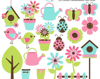 Spring Garden Clipart Set - flowers, birds, butterflies, garden, nature, ladybugs - personal use, small commercial use, instant download