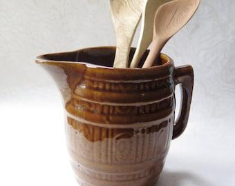 Brown Stoneware Crockery Jug Pitcher Glazed Crock Vintage Pottery Milk Syrup Pitcher Woodland Rustic Decor