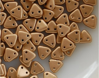 CZECHMATES TRIANGLE Beads, 2 hole, 6mm, Matte Metallic Flax, sold in units of approx 10 gms.