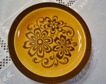 Vintage Decostone Dinner Plate Set of 6 Andre Ponche Homer Laughlin Brown Caramel Flower Power PanchosPorch