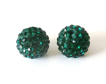 1 x bead ball 10mm emerald green Crystal rhinestones