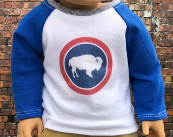 American Boy Doll Clothes - Red White and Blue Buffalo Graphic BOY Long Sleeve Raglan BASEBALL TEE for 18 Inch Doll