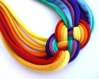 Upcycled rainbow necklace - colors for wintertime/Recycled/ Woman's necklace/Handmade colorful/Repurposed/Soft/Eco friendly/Jersey stripes