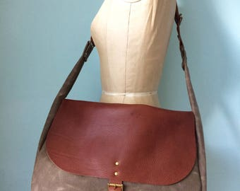 Messenger bag, waxed  canvas and leather bag, mens messenger, leather satchel