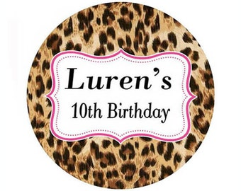 cheetah - personalized leopard Birthday Round Sticker label Circle Favor goody bag tag birthday party