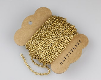 Matte Gold Chain, Anodized Aluminum Chain, Oval Cable Chain, 5.3x3.5mm, Thread Dia. 1mm, Pkg of 30 feet, N0FI.MG05.L30F
