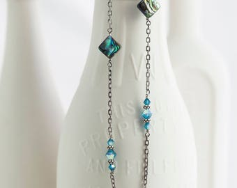 "Abalone and Indicolite AB Swarovski Crystal Sterling Silver Necklace 37"" Long"