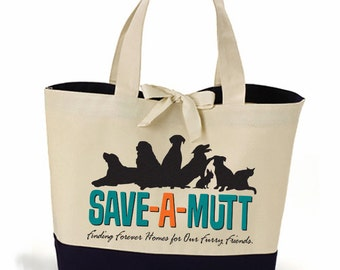 Save-A-Mutt Cotton Canvas Tote Bag - Black Bottom