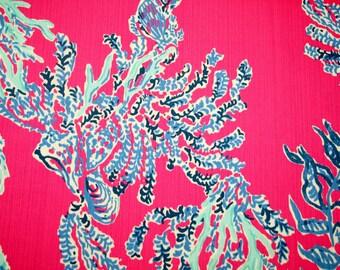 "Lilly Pulitzer fabric ~Capri PINK SAMBA~ 17"" by 18""~ dobby cotton"