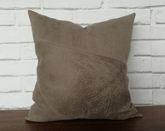 Fast shipping/9 color-Mink faux vegan leather fabric-nubuck-suede mix fabric pillow cover-diagonal design/housewarming gift-1pcs
