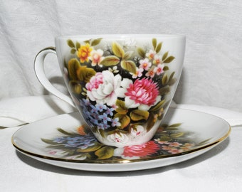Hand Painted Flower Tea Cup Saucer Fine China Brother Harold Andrew Japan