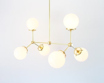 Modern Brass Chandelier, 6 White Glass Globes, Large Hanging Lighting Fixture, Unique Statement Lighting and Home Decor