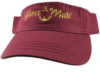Nautical Star Anchor First Mate Golden Embroidery on a Burgundy Red Unisex Adjustable Visor Cap for the Boating Enthusiast