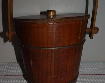 Vintage Putney Basketville Vermont Sugar Firkin Bucket Lidded With Handle