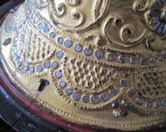 Tribal Architectural Teak Salvage India Candleholder Art Base Bejeweled Gilded Repurposed Vintage