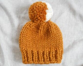 Newborn Baby Hat// Knit Baby Hat//Newborn Baby Beanie//Spice and Cream//Newborn Cap// Hand Knit Baby Hat/