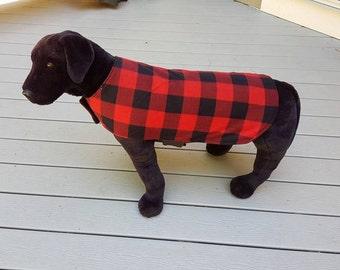 Reversible Fleece Dog Coat,  Buffalo Plaid Dog Coat, Red Buffalo Check Dog Coat,Dog Clothing, Dog Apparel, Fleece Dog Coat