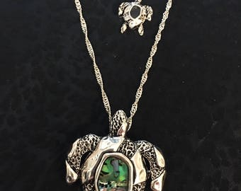 Sterling Silver Arnold Turtle Necklace And Earring Set With Green Abalone Stones