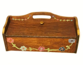 Vintage Toleware Wooden Sewing Knitting Box Tote Caddy w/ 18 Spool Spindles Handled Dual Flip Double Sided Hinged