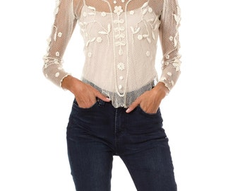 1900s Vintage White Lace Embroidered Long Sleeve Top  Size: XS