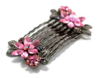 Hand Made Hair Jewelry Pair of small combs swarovski crystal flower pattern Pink(SO2098-pk)