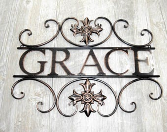 Live with Grace Metal Wall Art
