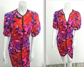 Gorgeous Vintage 80s Flora Kung Red, Purple & Pink Silk Dress